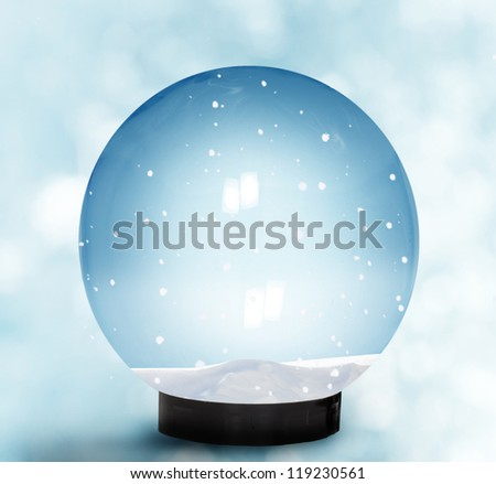 Snow Dome With Falling Snow - stock photo