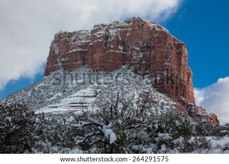 snow in the red rock mountains in Sedona - stock photo