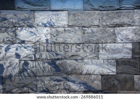 """snow mountain in India"" Mural. The brick painting concept"