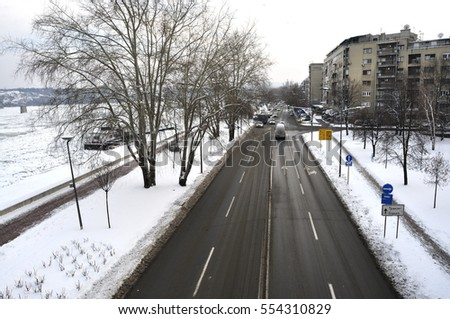 Snow on the Street in Novi Sad, Serbia