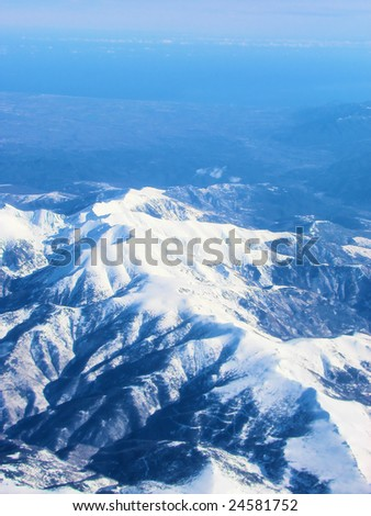 snow top of Pyrenees mountains in Spain