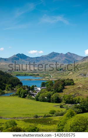 Snowdonia National Park and mount Snowdon ,Wales - stock photo