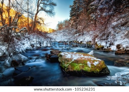 snowy winter river stream - stock photo