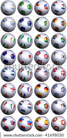 32 soccer balls of the competing nations in the Soccer World cup in South Africa 2010. Separated by continents and  in alphabetical order. - stock photo