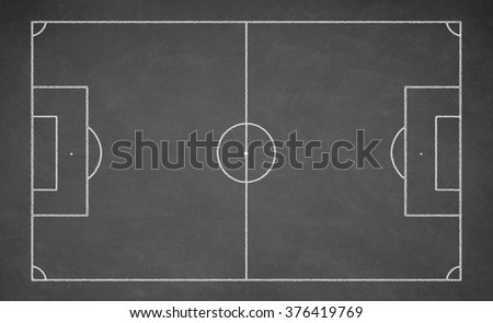 Soccer board drawn with white chalk on a blackboard