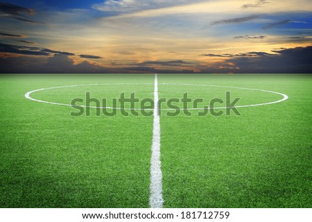 soccer field with sun set - stock photo