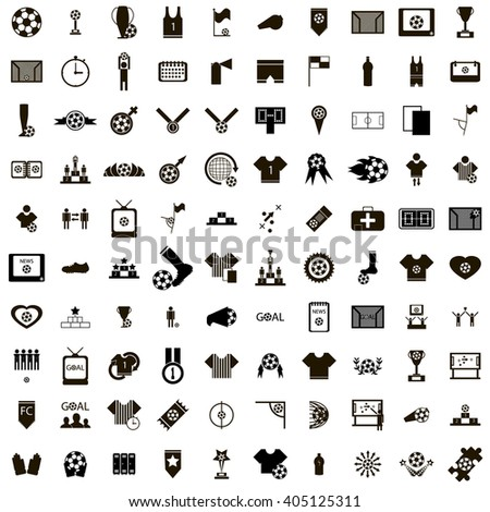100 Soccer Icons - stock photo