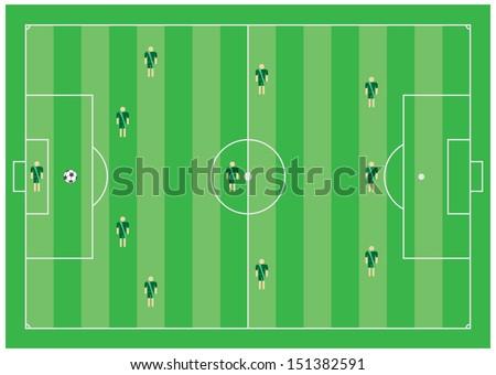 4-3-3 soccer tactical scheme - stock photo
