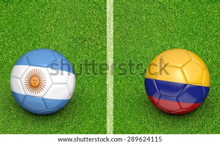 2015 soccer tournament, teams Argentina vs Colombia - stock photo