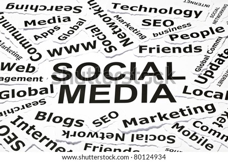 'Social media' concept with other related words - stock photo