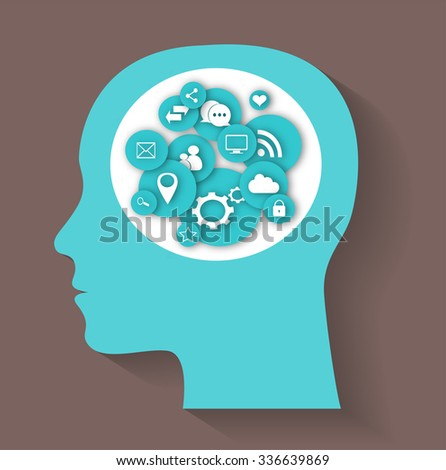 social media icons with human head, abstract background