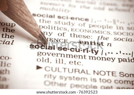 """""""social security"""" definition in a dictionary - stock photo"""