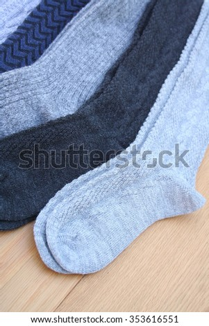socks on wooden table