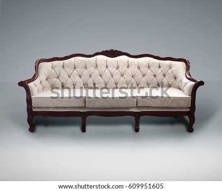 Classical Carved Wooden Sofa Upholstered Leather Stock Photo - Retro style sofa