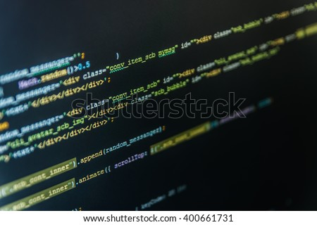 Software source code. Computer program. Writing programming code on laptop. Software background. Programmer workplace.  Web site codes on computer monitor. Writing program code on computer.   - stock photo
