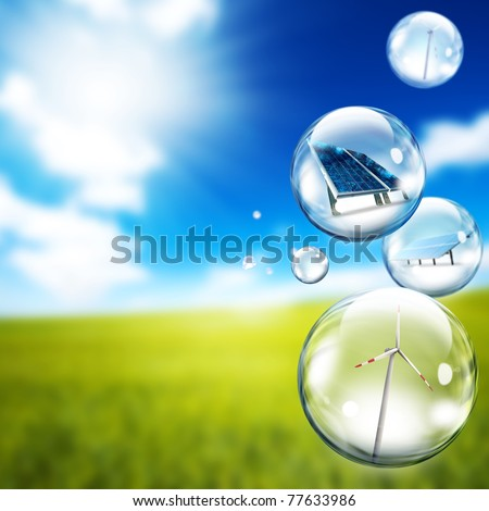 Solar panel and wind turbine  inside soap bubbles - stock photo