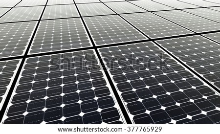 Solar panels, solar modules, clean energy - stock photo