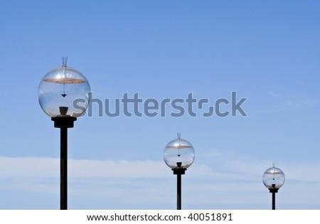3 solar powered light globes - stock photo