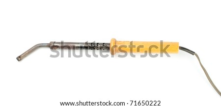 Soldering iron with a wooden handleron a white background. - stock photo