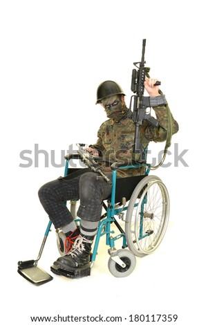 soldier in wheelchair  - stock photo