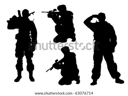4 soldier silhouette - stock photo