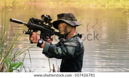 soldier, thai army soldier practice to patrolling