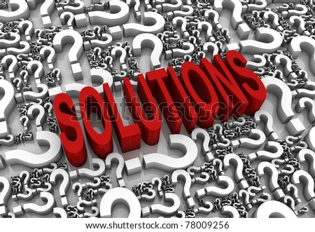 """Solutions"" 3D text surrounded by question marks. Part of a series. - stock photo"