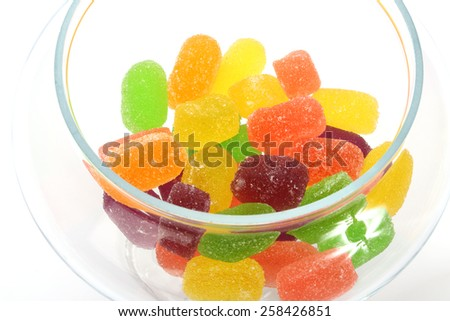 Some  colorful soft jelly candies close up - stock photo