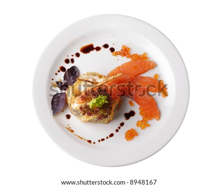 sophisticated red fish steak isolated on white, view from above