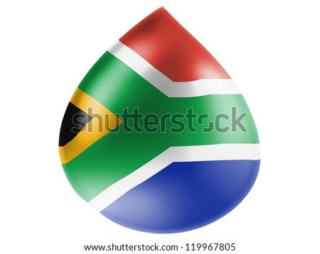 South African flag painted on 3D water drop