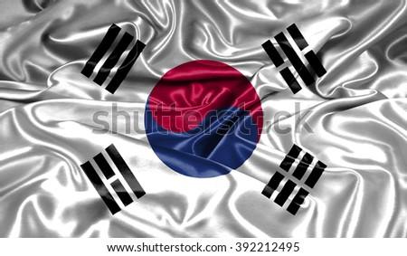 South Korea silk flag - stock photo
