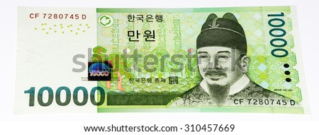 10000  South Korea won bank note. Won is the national currency of the South Korea - stock photo