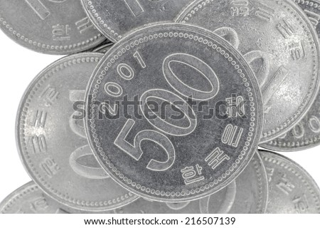 500 south korean wons coins - stock photo