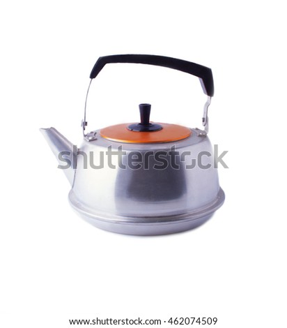 Soviet Old Fashioned Kettle in Profile, Isolated on White