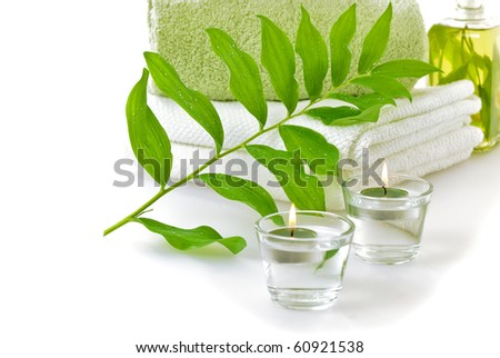 spa with green leaf on white background - stock photo