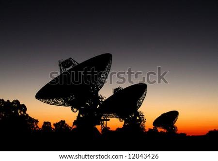 3 Space Radio Telescopes - stock photo