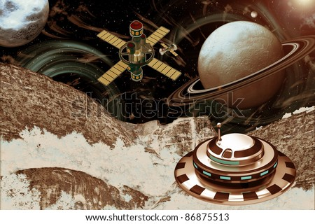Spacecraft Landscape - Other Worlds - stock photo