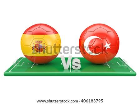 Spain / Turkey soccer game over soccer field 3d illustration - stock photo