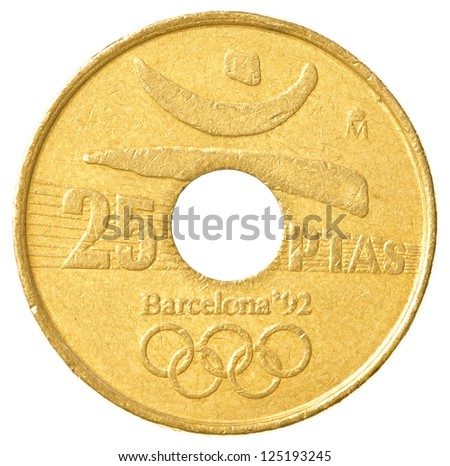 25 Spanish pesetas coin isolated on white background depicting olympic rings - stock photo