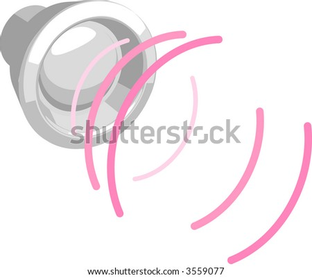 Speaker with sound waves. Raster version - stock photo