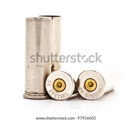 .38 special bullet shells for revolver handgun on white background - stock photo
