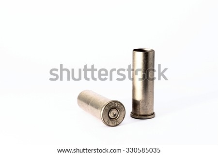 .38 special shell casings isolated on white background - stock photo