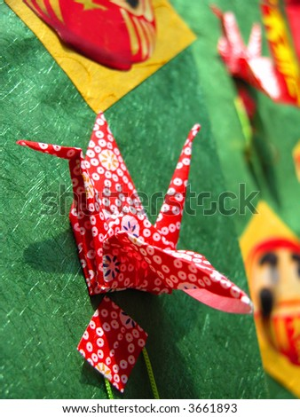 Specific Japanese paper crane decoration.Detail of a very beautiful and complex decoration during Tanabata Matsuri (Stars festival) in Sendai Japan. - stock photo
