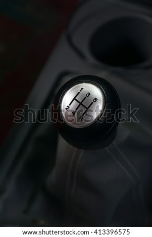 5 speed car gear shift or car gearbox lever - stock photo