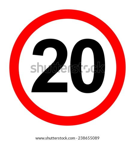 20 Speed Limit Sign Board on White Background