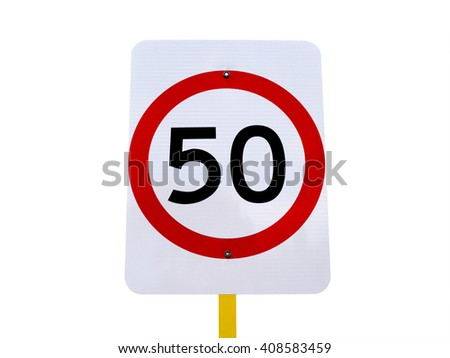 50 speed limit sign isolated on white background (with clipping path) - stock photo