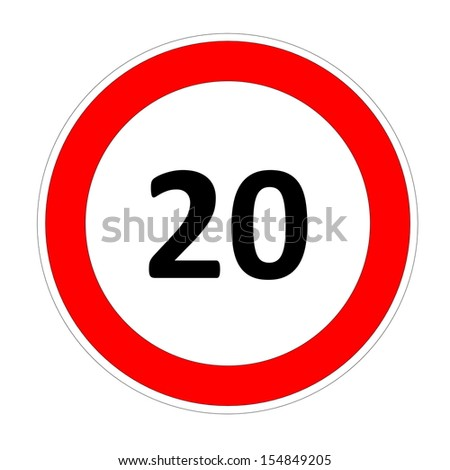 20 speed limitation road sign in white background