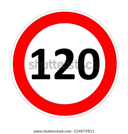 120 speed limitation road sign in white background