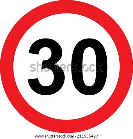 30 speed limitation road sign on white background - stock photo