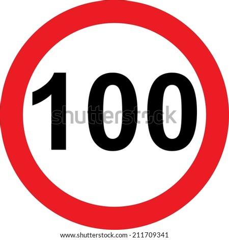 100 speed limitation road sign on white background - stock photo